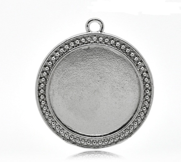 2 antique silver round cabochon frame pendants aloadofball Gallery