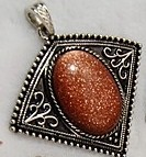 1 Goldstone Pendant, with Bail. 57×53×9~10mm, Hole: 7mm