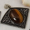 1 Tigers Eye Pendant, with Bail. 57×53×9~10mm, Hole: 7mm