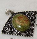 1 Unakite Pendant, with Bail. 57×53×9~10mm, Hole: 7mm