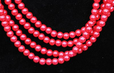 "1 x 16"" String of Tomato 6mm Glass Pearls"