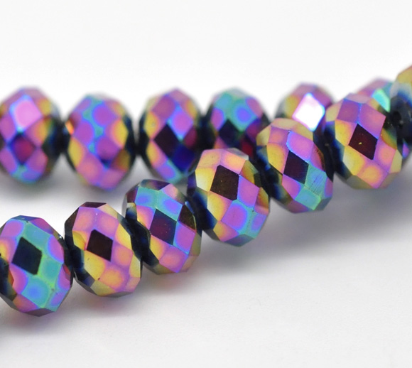 100 Multicolor AB Color Crystal Glass Faceted Rondelle Beads 6mm