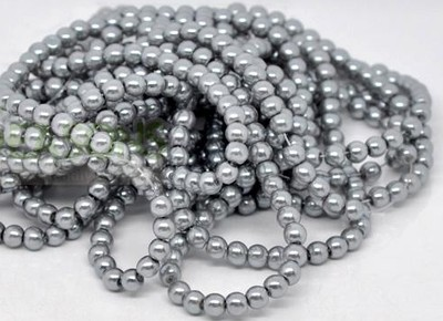100 X 4mm Silver Glass Pearls