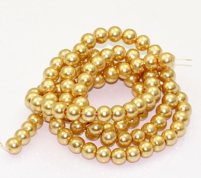 110 Champagne Gold Glass Pearl Round Beads 8mm Dia