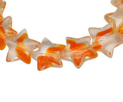 12   Glass Bead , Star, Orange, about 12mm long, 12.5mm wide, 5.5mm thick, hole: 1mm,