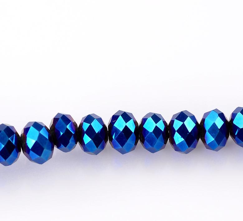 145 Dark Blue Faceted Rondelle  4mm Crystal Glass Beads