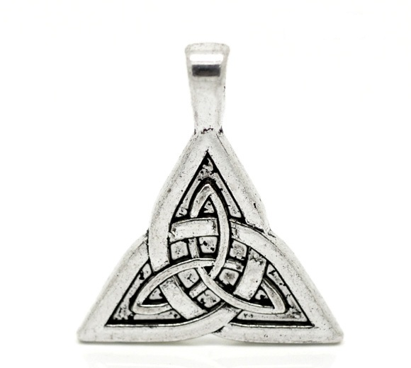 2 Silver Celtic Knot Triquetra  Pendants 28x24mm