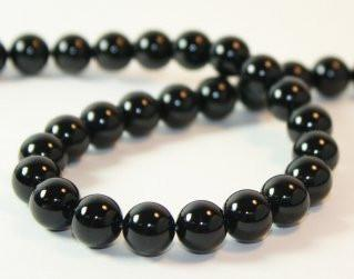 20 x 12 mm Round Natural Black Onyx  Beads Hole 1 mm