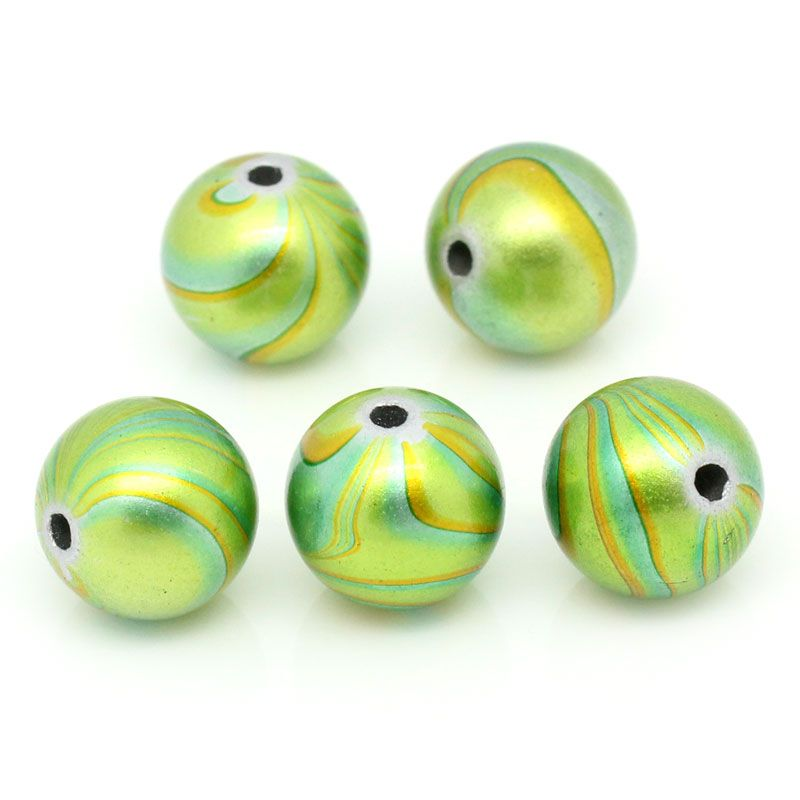 25 Green & Yellow Patterned Acrylic Round Beads 14mm Hole: 2.5mm