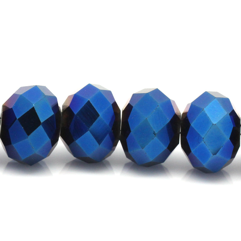 30 Dark Blue AB Color Faceted 12mm Crystal Glass Beads
