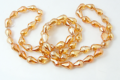 30 Electroplated Orange Teardrop Glass Beads 15 x 10mm