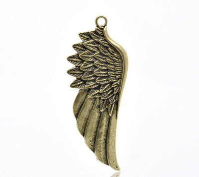 5 Antique Bronze Wing Charm Pendants 58x22mm  ( Right Wing )