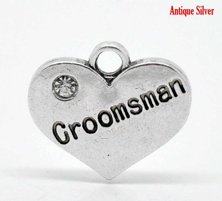 "5 Antique Silver Heart with Rhinestone ""Groomsman"" Charm/ Pendant"