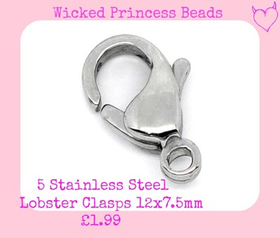 5 Stainless Steel Lobster Clasps 12x7.5mm