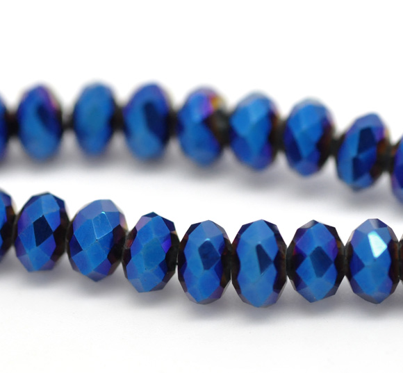 50 Dark Blue AB Color Crystal Glass Faceted Rondelle Beads 6mm