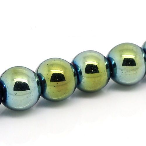 "50 Hematite Beads Round Green / Silver /  Blue 8mm( 3/8"") Dia, Hole: Approx 1.6mm"