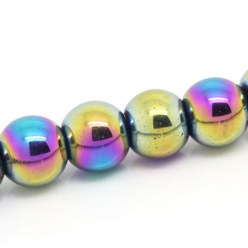 "50 Hematite Beads Round Multicolor Rainbow 8mm( 3/8"") Dia, Hole: Approx 1.6mm"