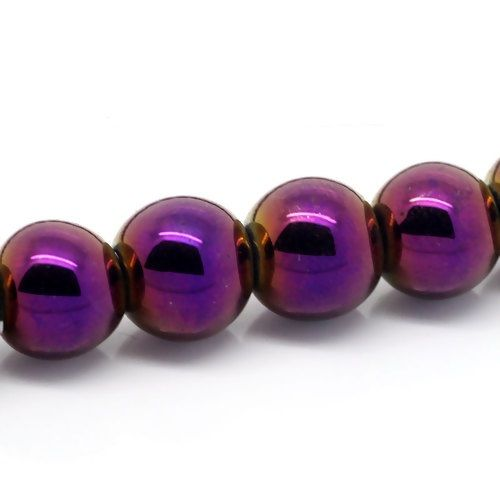 "50 Hematite Beads Round Purple 8mm( 3/8"") Dia, Hole: Approx 1.6mm"