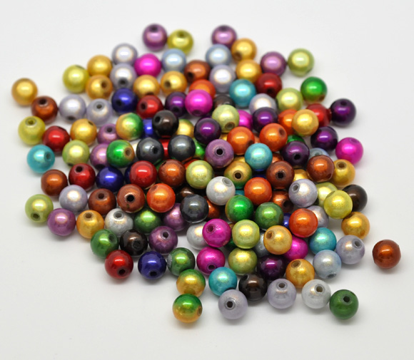 50 Mixed Colour Miracle Acrylic Round  Beads 8mm