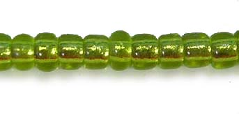50gms 12/0 Green Foil Lined Seed Beads