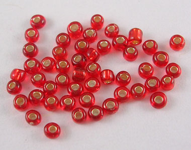 50gms 12/0 Red Foil Lined Seed Beads