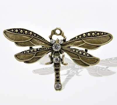 Antique Bronze Rhinestone Dragonfly  Pendants for Necklace 7.3x4.2cm