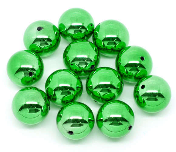 Christmas Green 20mm Round Acrylic Beads