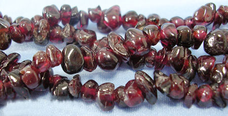 Gemstone Beads Strands, Red Garnet, Chip, Red, about 5~8mm long,